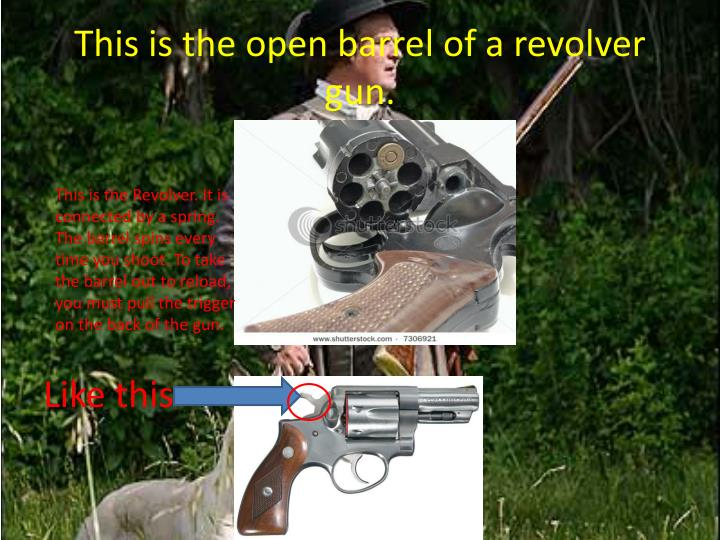 This is the open barrel of a revolver gun.