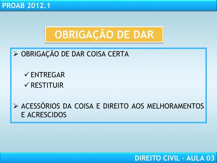 OBRIGAÇÃO DE DAR