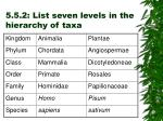5 5 2 list seven levels in the hierarchy of taxa