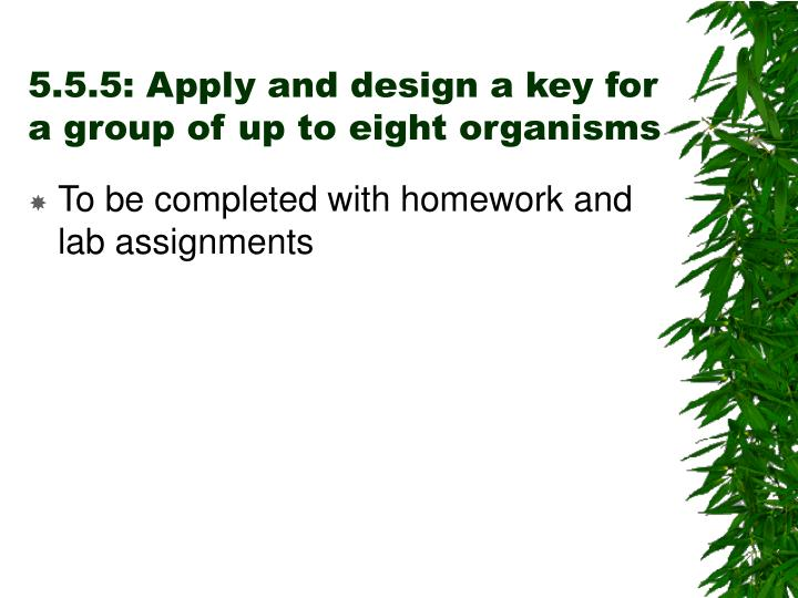 5.5.5: Apply and design a key for a group of up to eight organisms