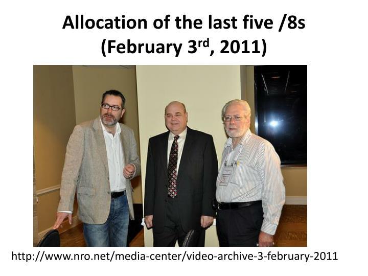 Allocation of the last five /