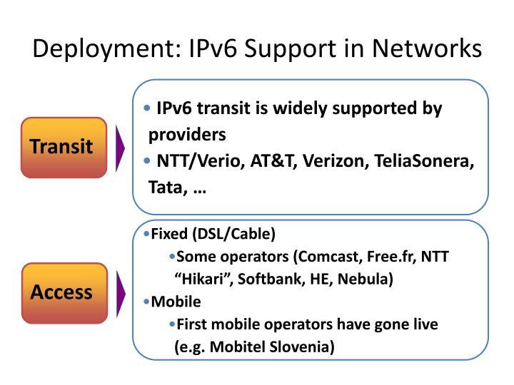 Deployment: IPv6