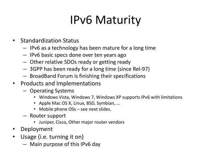 IPv6 Maturity