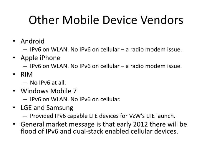 Other Mobile Device Vendors