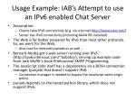 usage example iab s attempt to use an ipv6 enabled chat server