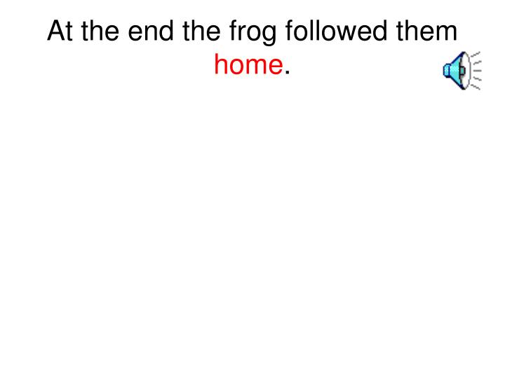 At the end the frog followed them