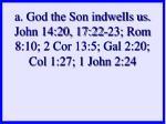 a god the son indwells us john 14 20 17 22 23 rom 8 10 2 cor 13 5 gal 2 20 col 1 27 1 john 2 24