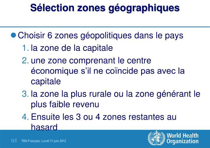 Sélection zones géographiques
