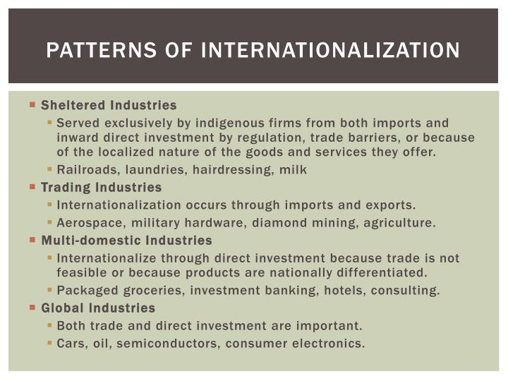 Patterns of Internationalization