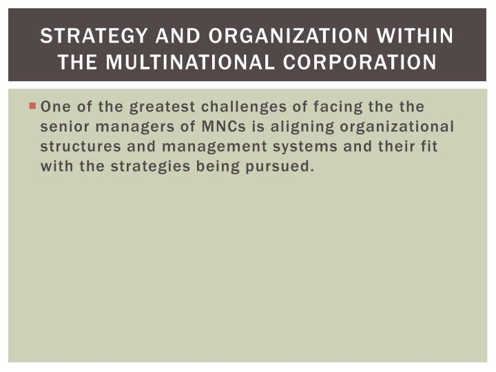Strategy and Organization within the Multinational Corporation