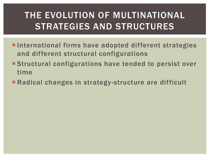 The evolution of multinational strategies and structures
