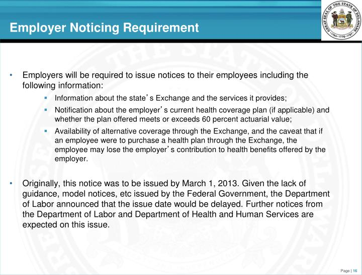 Employer Noticing Requirement