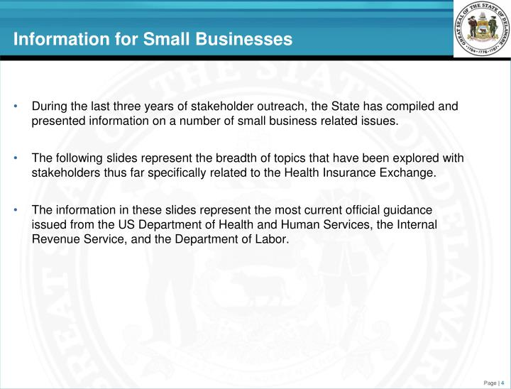 Information for Small Businesses