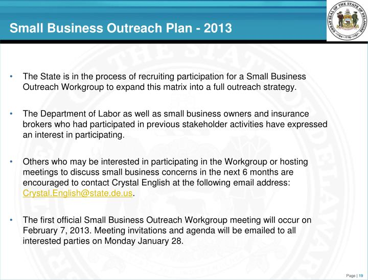 Small Business Outreach Plan - 2013
