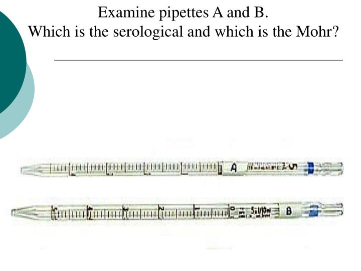 Examine pipettes A and B.