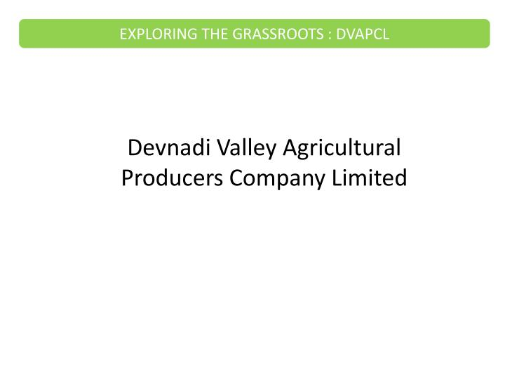 EXPLORING THE GRASSROOTS : DVAPCL