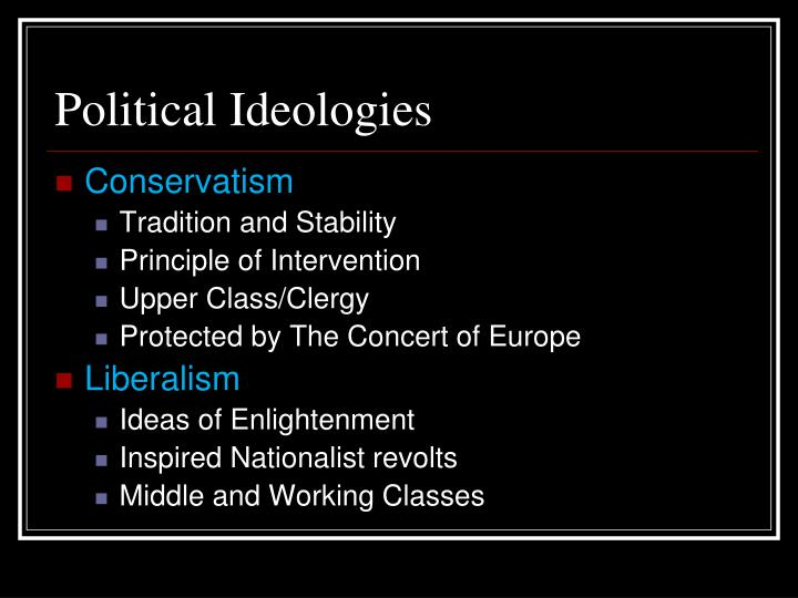 ideologies of europe between 1815 and The conservative order is the period in european political history after the defeat of napoleon in 1815 metternich and most of the other participants at the congress of vienna were representatives of the ideology known as conservatism.