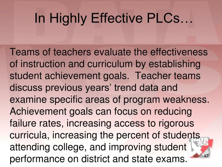 In Highly Effective PLCs…