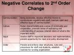 negative correlates to 2 nd order change