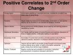 positive correlates to 2 nd order change