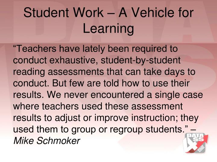 Student Work – A Vehicle for Learning
