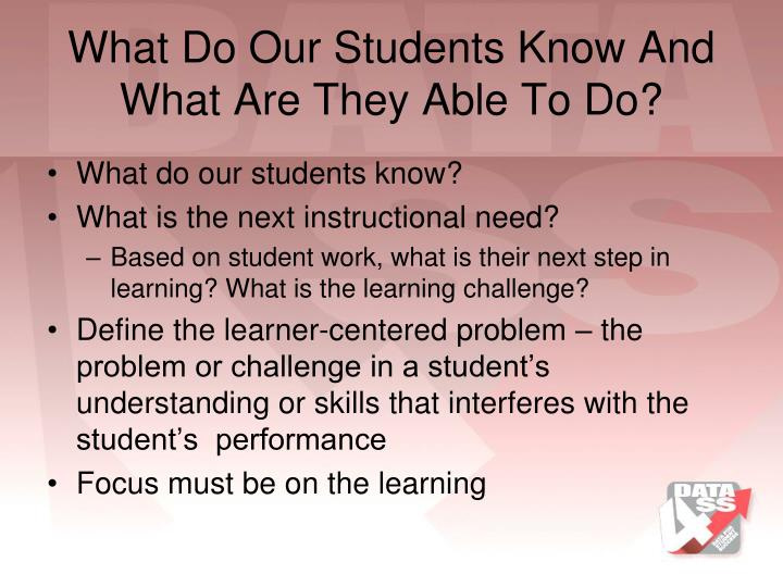 What Do Our Students Know And What Are They Able To Do?