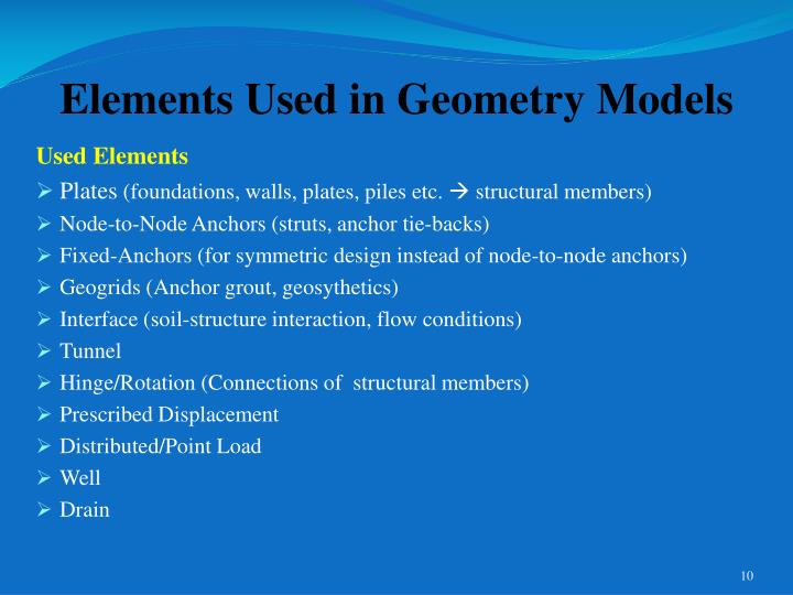 Elements Used in Geometry Models