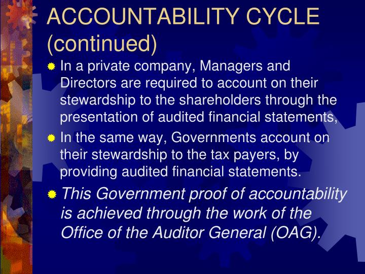 ACCOUNTABILITY CYCLE (continued)