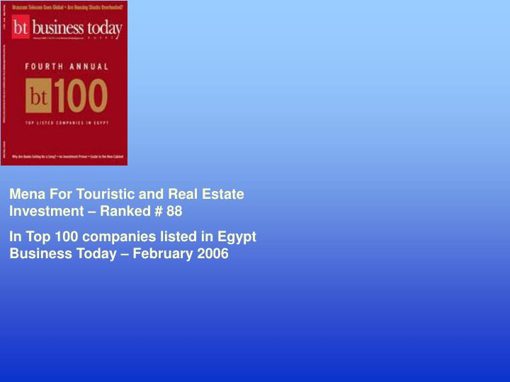 Mena For Touristic and Real Estate Investment – Ranked # 88