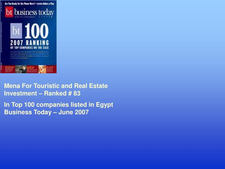 Mena For Touristic and Real Estate Investment – Ranked # 83