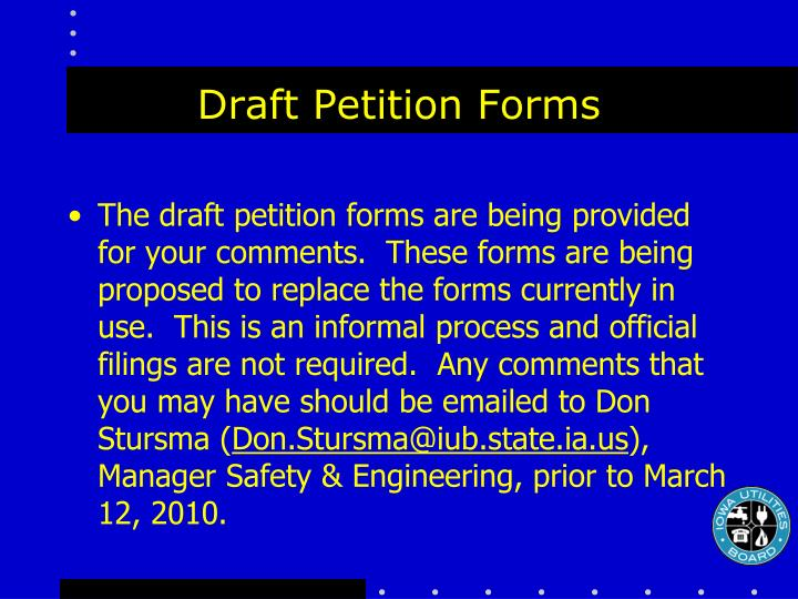 Draft Petition Forms