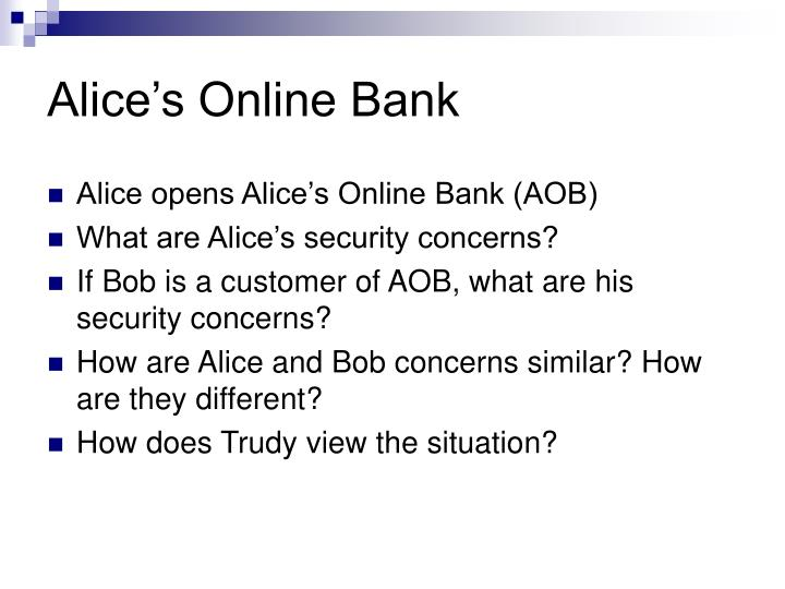 Alice's Online Bank