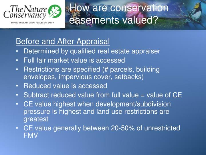How are conservation easements valued?