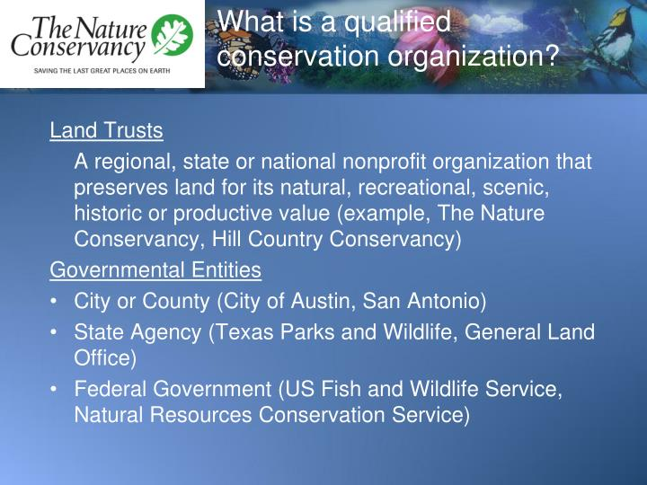 What is a qualified conservation organization?