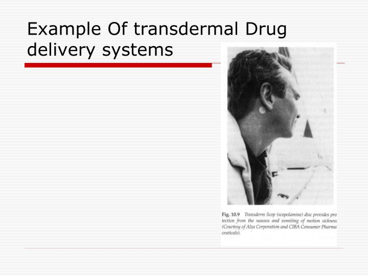 Example Of transdermal Drug delivery systems