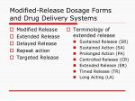 modified release dosage forms and drug delivery systems