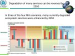 degradation of many services can be reversed by 2050