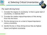 e selecting critical uncertainties1