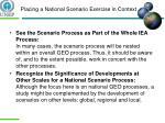 placing a national scenario exercise in context