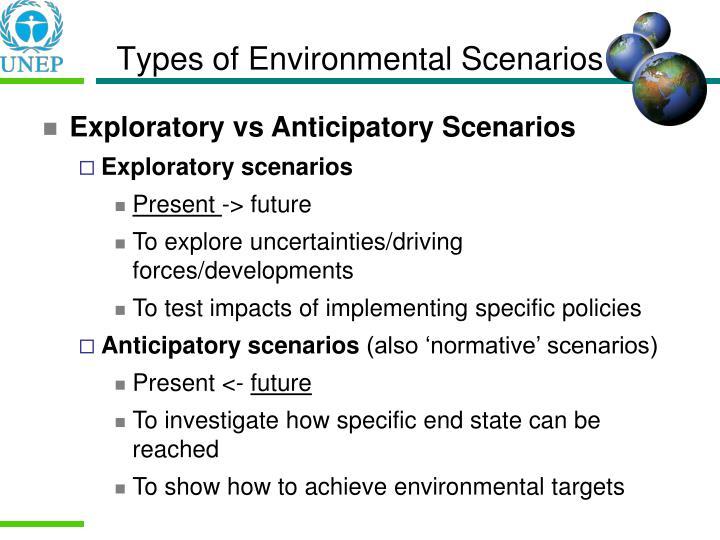 Types of Environmental Scenarios
