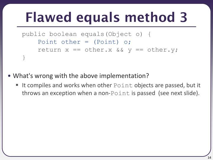 Flawed equals method 3