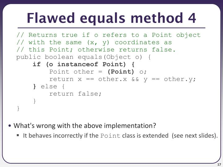 Flawed equals method 4
