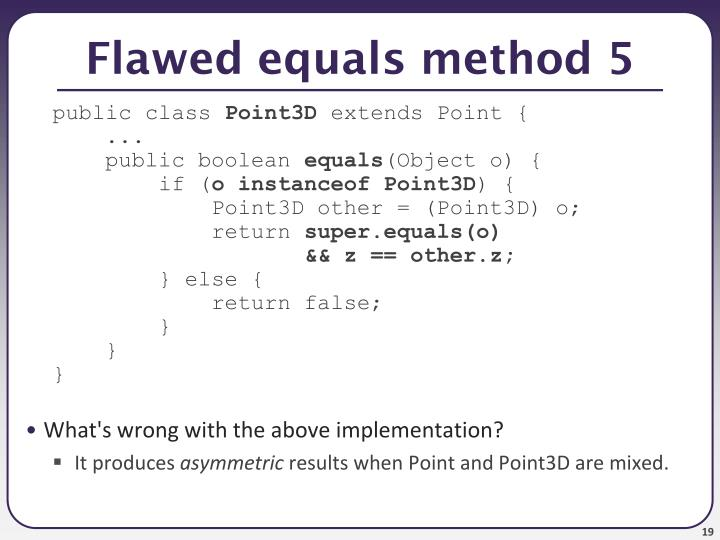 Flawed equals method 5
