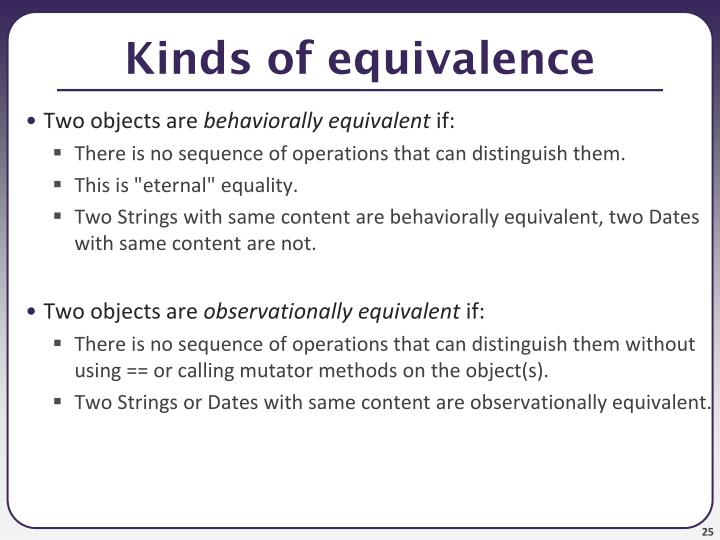 Kinds of equivalence