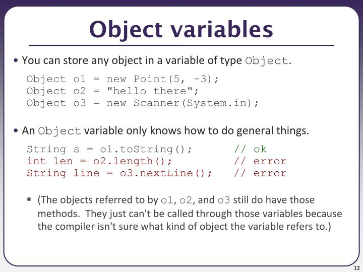Object variables