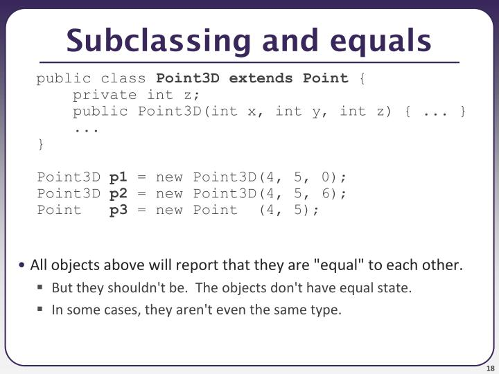 Subclassing and equals