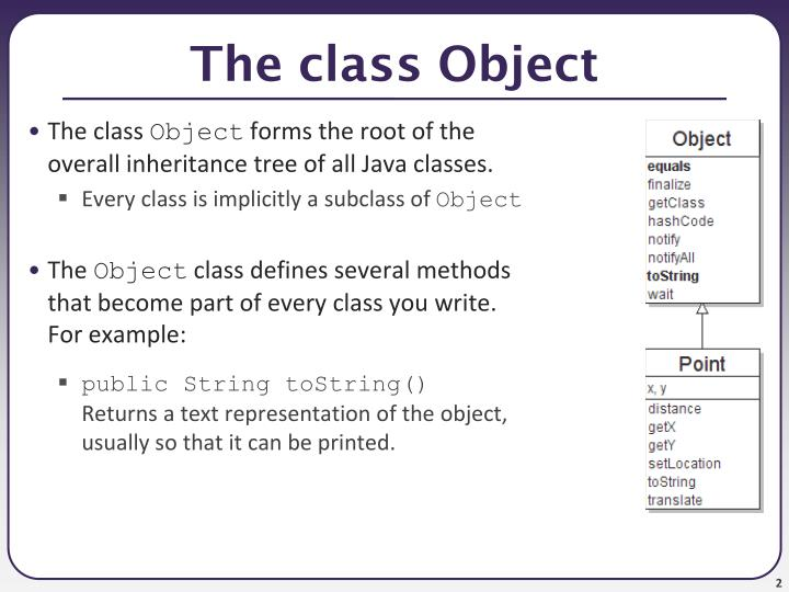 The class object