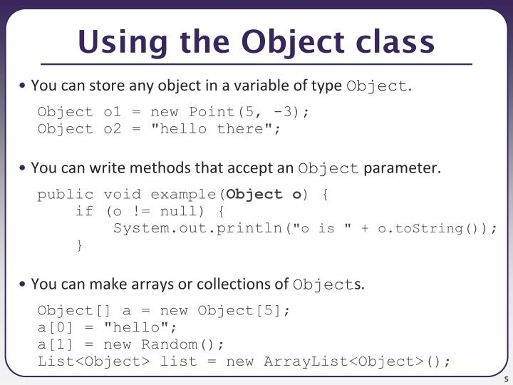 Using the Object class