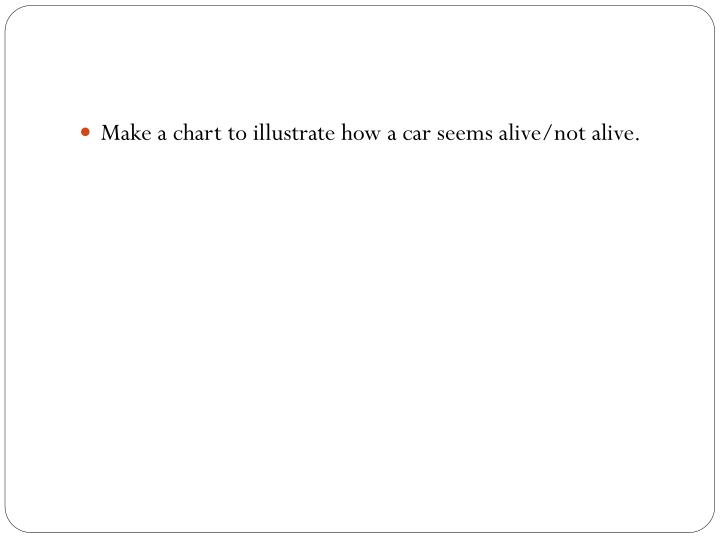Make a chart to illustrate how a car seems alive/not alive.
