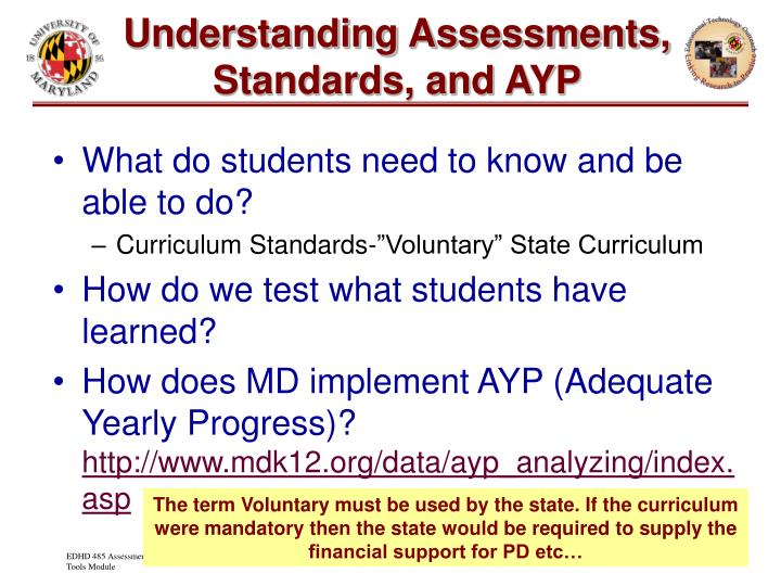 Understanding Assessments, Standards, and AYP